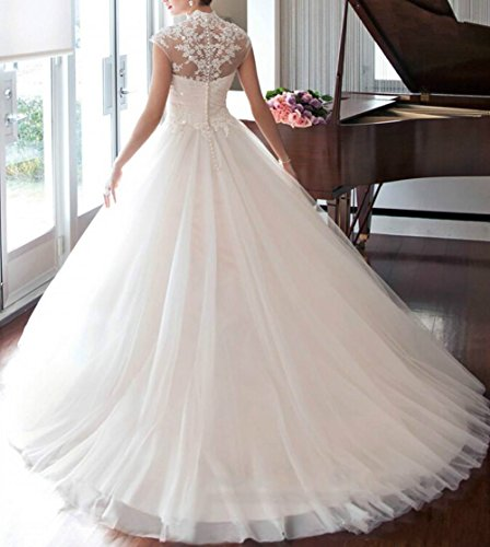 Applique Dreamdress Bridal White Gown Tulle Wedding Women's Sheer Dresses wrYZfpXrq