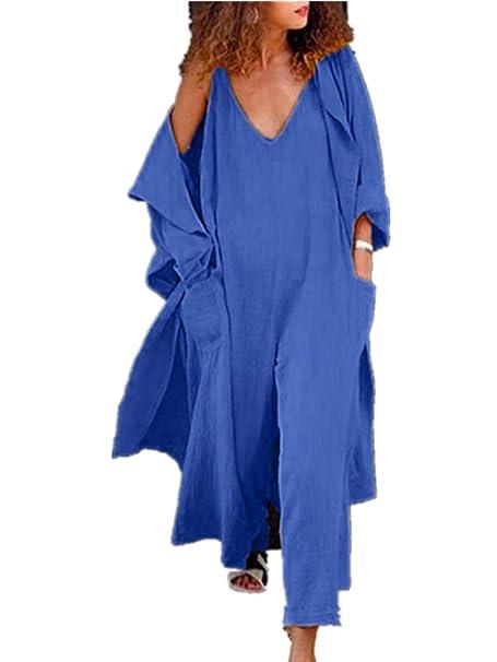 newest 4561b 5e2c4 Feytuo Leinen Overall Damen Sommer Lang Bunt festlich Blau ...
