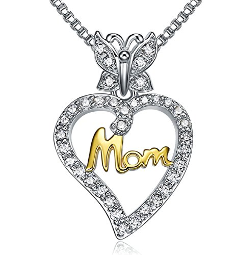 LiLoing I Love You Mom Necklace Heart Pendant for Mothers Day Gifts,Jewelry for Women,Anniversary Gifts for Mom