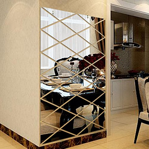 Besde Wall Decoration Acrylic Mirrored Decorative Sticker Room Decoration DIY Wall Art Home Decor (Silver, A)