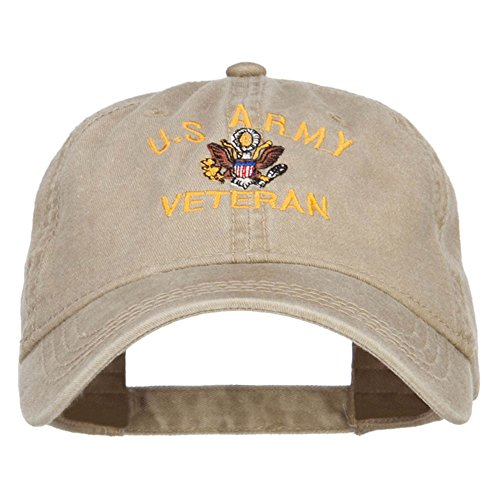 e4Hats.com US Army Veteran Military Embroidered Washed Cap - Khaki - Cap Veteran Army