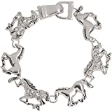 Heirloom Finds Trendy Silver Tone Rhinestone Horse Pony Charm Bracelet With Magnetic Clasp