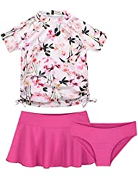 Little Girls 3 PCS Short Sleeve Swimsuit Swimwear Beach Wear Set Tops with Bottoms Briefs and Skirt,Flower Print,7Y