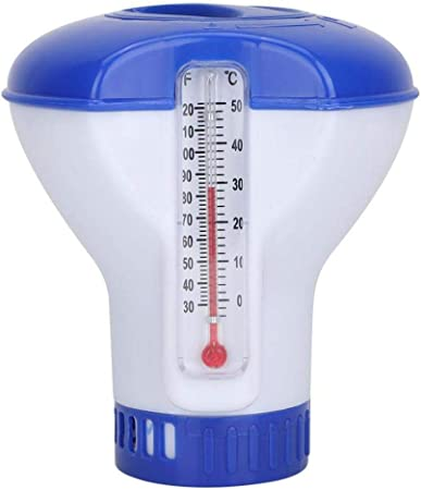 Favourall Termómetro de Piscina Dispensador de Cloro Flotante, dispensador de Cloro químico de 5 Pulgadas con desinfección aplicador automático Bomba