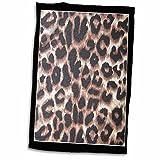 3D Rose Black Frame Leopard Animal Prints TWL_30873_1 Towel, 15'' x 22''