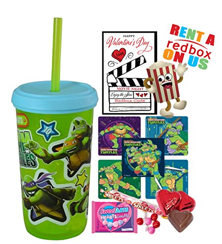 Teenage Mutant Ninja Turtles Valentines Day Redbox Movie Night Fun Sip Favor Cup! Pre-Filled & Ready For Giving! Includes Keepsake Tumbler, Redbox Rental, Popcorn, Candy & Favors!