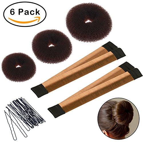 Hair Bun Shaper Set, 3 Pcs Donut Bun Maker + 2 Pcs Foam French Twist Hairstyle Clip DIY Doughnuts + 1 Bag Hair Pin (Brown) (Shaper Hair)