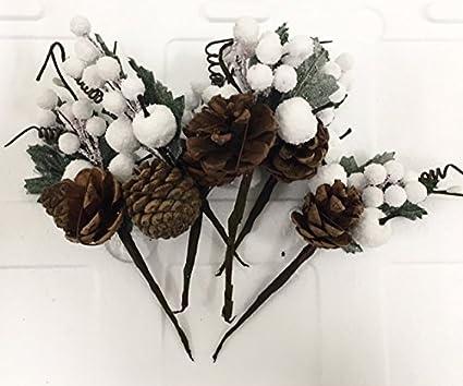 6 PEZZI Pick Fiore Pigna E Bacche Bianche DECORAZIONE ALBERO NATALE Fiori  Di Natale