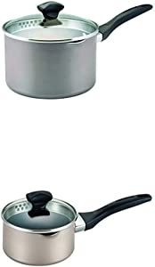 Farberware Dishwasher Safe Nonstick Aluminum 3-Quart Covered Straining Saucepan with Pour Spouts, Aqua & Champagne