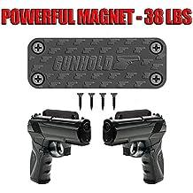 GunHold Gun Magnet & Magnetic Gun Mount - Rubber Coated 38 Lbs Rated - Magnetic Car Holder. Suitable for any surface Concealed Holder For Handgun, Rifle, Shotgun, Truck, kitchen, Vault, Desk.