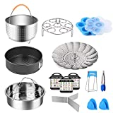 Instant Pot Accessories Set, 14 Pcs Pressure Cooker Accessories Fit 5 6 8Qt 3 Steamer Basket Springform Pan, Egg Bites Mold, Egg Steamer Rack, Kitchen Tongs, Silicone Oven Mitts, 3 Cheat Sheet Magnets