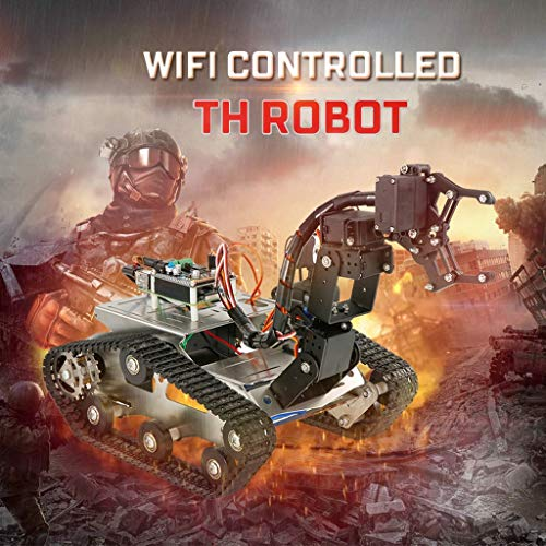 FORESTIME RC Tank TH Robot WiFi Smart DIY Crawler RC Robot Tank 480P Camera RC Auto (Black, Big) by FORESTIME (Image #5)