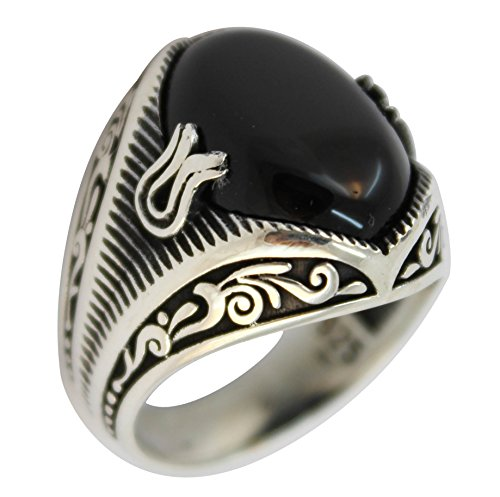 925 Sterling Silver Jewelry Onyx Stone Men's Ring (8.5) -
