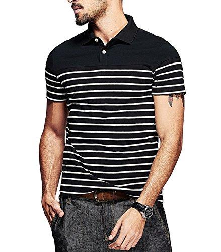 Fanideaz Branded Men's Half Sleeve Cotton Black and White Striped Polo Tee L-SPL