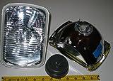 Hella 200mm Rectangular E Code H4 Halogen Replacement Headlight Kit with 100/80W H4 Bulbs