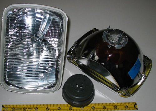 Hella 200mm Rectangular E Code H4 Halogen Replacement Headlight Kit with Standard 60/55W H4 Bulbs