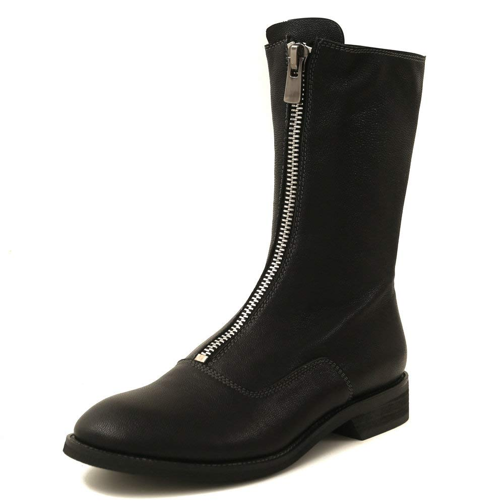 Black AnMengXinLing Fashion Mid Calf Flat Boot Women Genuine Leather Round Toe Front Zipper Casual Low Heel Knight Boot shoes