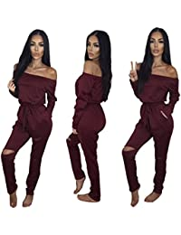 Women's Fashion Off-Shoulder Drawstring Jumpsuits Rompers...
