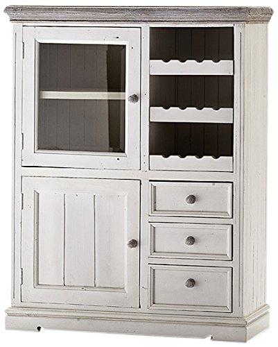 Robas Lund FW608T14 Opus Vitrine, Kiefer weiß / white sanded, 2 Türen / 3 Schubkästen, circa 106 x 136 x 43 cm