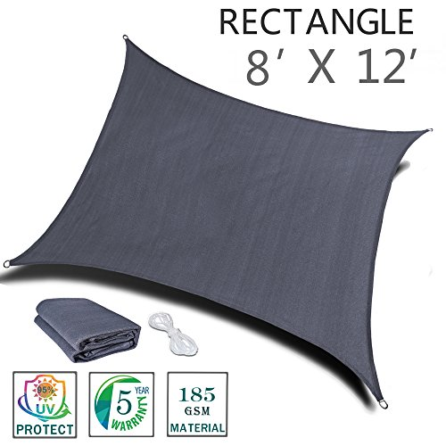 SUNNY GUARD 8' x 12' Charcoal Rectangle Sun Shade Sail UV Block for Outdoor Patio Garden by SUNNY GUARD