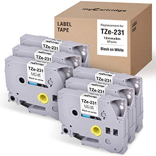 myCartridge 6 Pack Compatible with P Touch TZ Laminated Label Tapes Replacement for Brother P-Touch TZ231 TZe231 TZe-231 Black on White 12mm x 8m (0.47 Inch x 26.2 Feet)