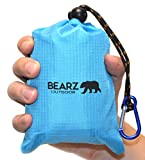 BEARZ Outdoor Pocket Blanket 55″x60″ – Compact & Waterproof Picnic Blanket Great for the Beach, Travels, Hiking, Camping, Festivals – Durable, Sand Proof with Corner Pockets, and Loops with Bag (Blue)