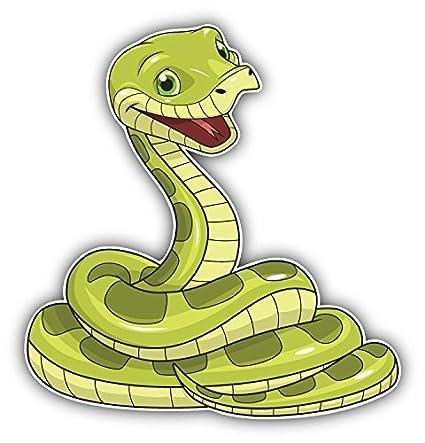 Happy Snake Cartoon Animal Art Decor Bumper Sticker 5'' ...