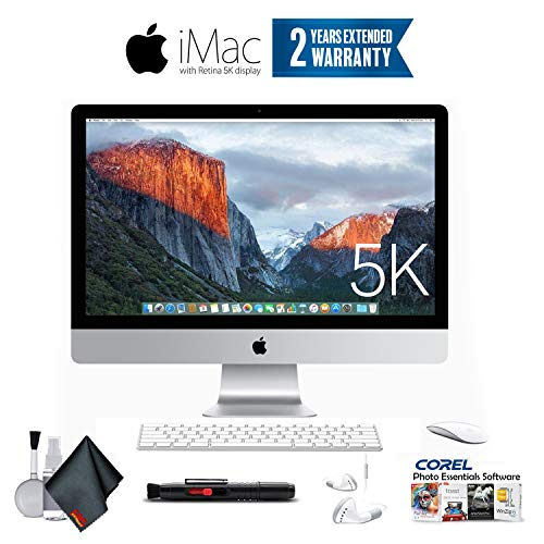 Apple iMac 27-Inch Retina 5K Desktop MK472LL/A (3.2 GHz Intel Core i5, 8GB RAM, 1TB Fusion) + Ear Buds, Corel Software (Renewed) (27 Inch Imac With Retina 5k Display Price)