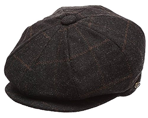 Men's Classic 8 Panel Wool Blend Newsboy Snap Brim Collection Hat (Large, 2316-Glen Plaid Black) -