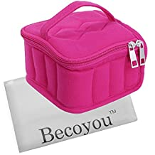 Essential Oil Carrying Case, Becoyou Universal Essential Oil Nail Polish Organizer Holder Storage Case Soft 16 Holds 5ml, 10ml, 15ml Bottles, Rose Red