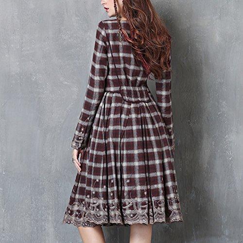 Kleid Braun A LHA82061 Maxi Linie Kleider Partykleid DISSA Retro Damen Langarm Wq0wBq76v
