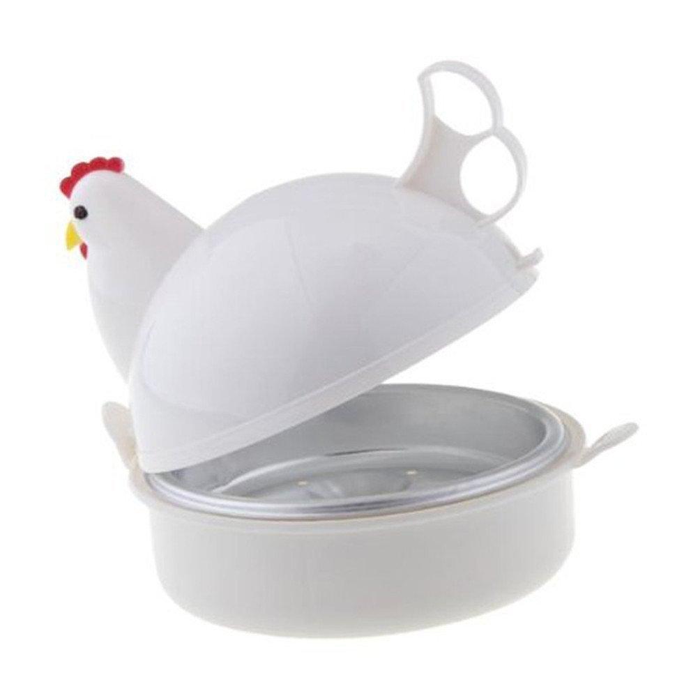 Vaporera de silicona y microondas para huevos con forma de gallina, capacidad para 4 huevos, 13 cm x 13 cm