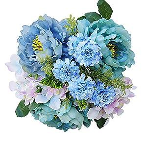 eroute66 1Bouquet Artificial Hydrangea Peony Fake Garden Plant Flower DIY Home Decor Blue 48