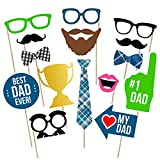 Fathers Day Photo Booth Props | Fathers Day Party Decorations | Dad Birthday Party Supplies | Best Dad Ever Sign Decor, 15pcs