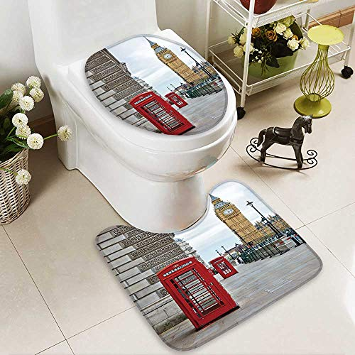 aolankaili Lid Toilet Cover Big Ben and phone booths in London Cushion Non-slip