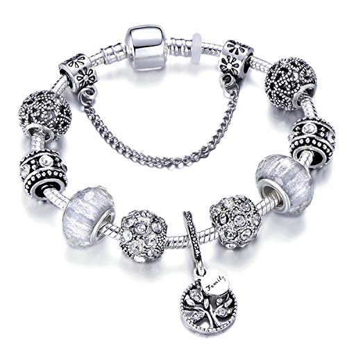 Shallow Time Vintage Silver Color Charm Bracelet with Tree of Life Pendant & Gold Crystal Ball,Black Gun Plated,18Cm