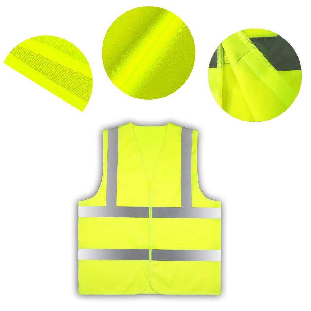 Sara High Visibility Vest 2 Pieces Reflective Safety Vest Car Industrial Bicycle Warning Vest for The Car According to EN471 Standard