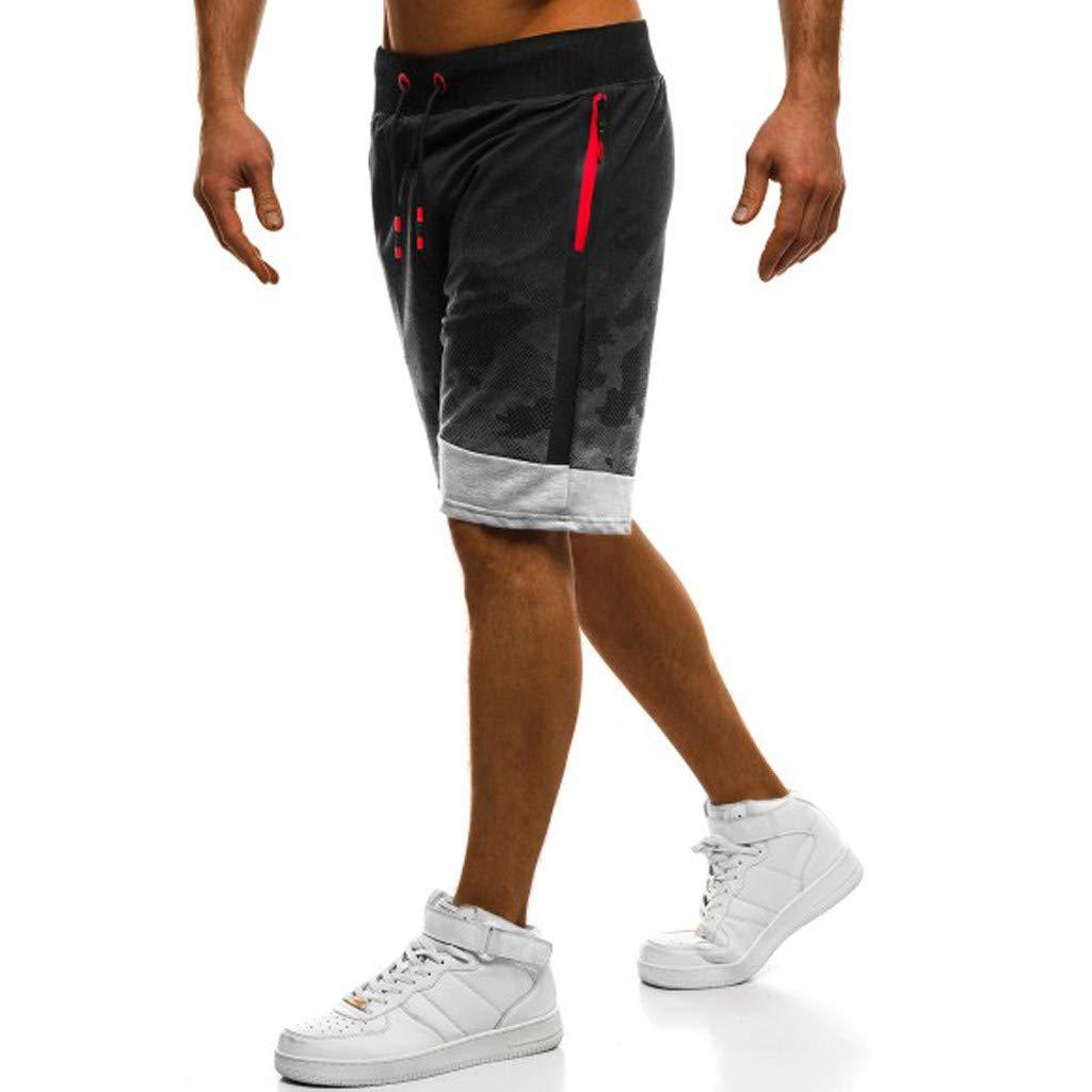 iZHH Pantalons de Sport Courts pour Hommes Fitness Camouflage Patchwork  Bodybuilding Pocket Shorts 672b90cc4e7