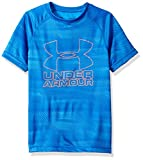 Under Armour Boys Big Logo Printed T-Shirt,Mako Blue /Magma Orange, Youth X-Small