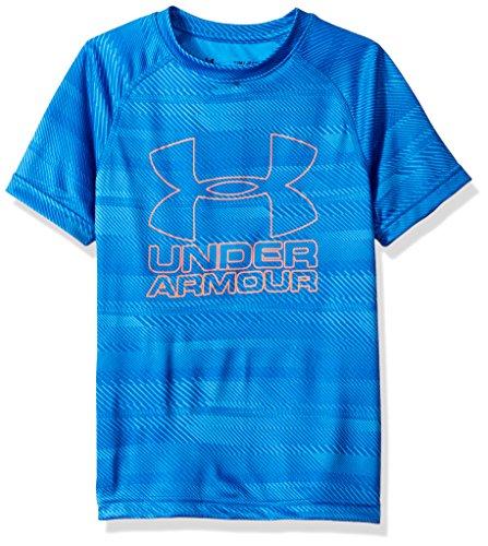 Under Armour Boys Big Logo Printed T-Shirt,Mako Blue/Magma Orange, Youth Large