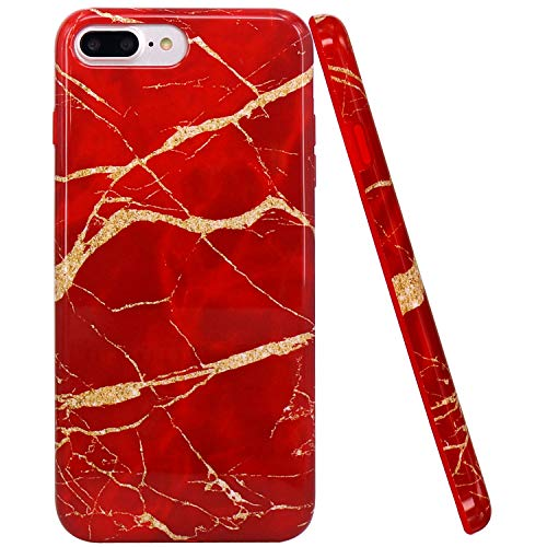 (JIAXIUFEN Shiny Change Color Red Marble Design Red Bumper TPU Soft Rubber Silicone Cover Phone Case Compatible with iPhone 7 Plus/iPhone 8 Plus)