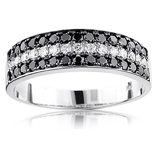 (Luxurman Unique 10K 3 Row White Black 1.3 Ctw Natural Diamond Wedding Band (White Gold Size)