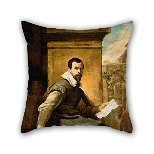 Slimmingpiggy Pillow Covers 16 X 16 Inches / 40 By 40 Cm(each Side) Nice Choice For Son,family,monther,coffee House,deck Chair,her Oil Painting Domenico Fetti (Italian - Portrait Of A Man With A She