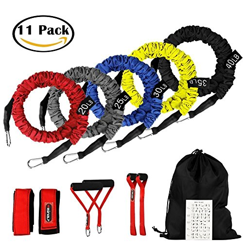 Set Band 5 Piece (Resistance Bands, 11 Pieces Exercise Elastic Bands Set, 20lbs To 40lbs Resistance Tubes With Heavy Duty Protective Nylon Sleeves Anti-Snap - 5 Bands Door Anchors Ankle Strap Handles Bag)