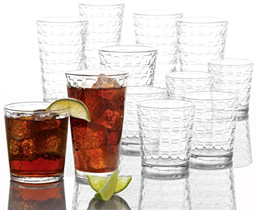 Circleware Blocks 16-Piece Glassware Set Highball Tumbler Drinking Glasses and Whiskey Cups for Water, Beer, Juice, Ice…