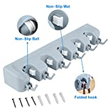 Mop Broom Holder,Broom Hanger with 5 Positions and 6 Hooks, Wall Mounted Broom Organizer Home Tools Storage Rack for Kitchen Garden and Garage