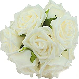 Artificial Flowers,ASDOMO Artificial Foam Roses DIY Bouquets Flowers for Wedding Bridesmaid Bridal Bouquets Centerpieces, Party Decoration, Home Display Milk White 118