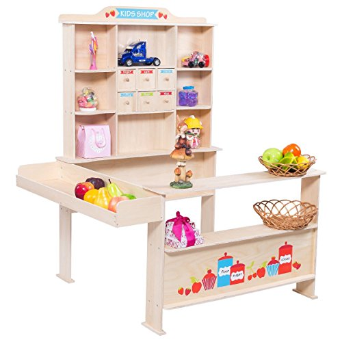 Costzon Kids Wooden Toy Shop, Grocery Supermarket Shopping Pretend Play (Play Shop)