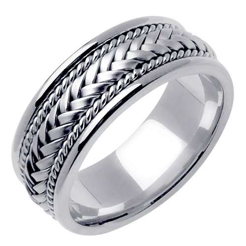 14K & Sterling Silver Hand Braided Wedding Ring Band for Men (Sizes 9 - (Hand Braided Wedding Band)