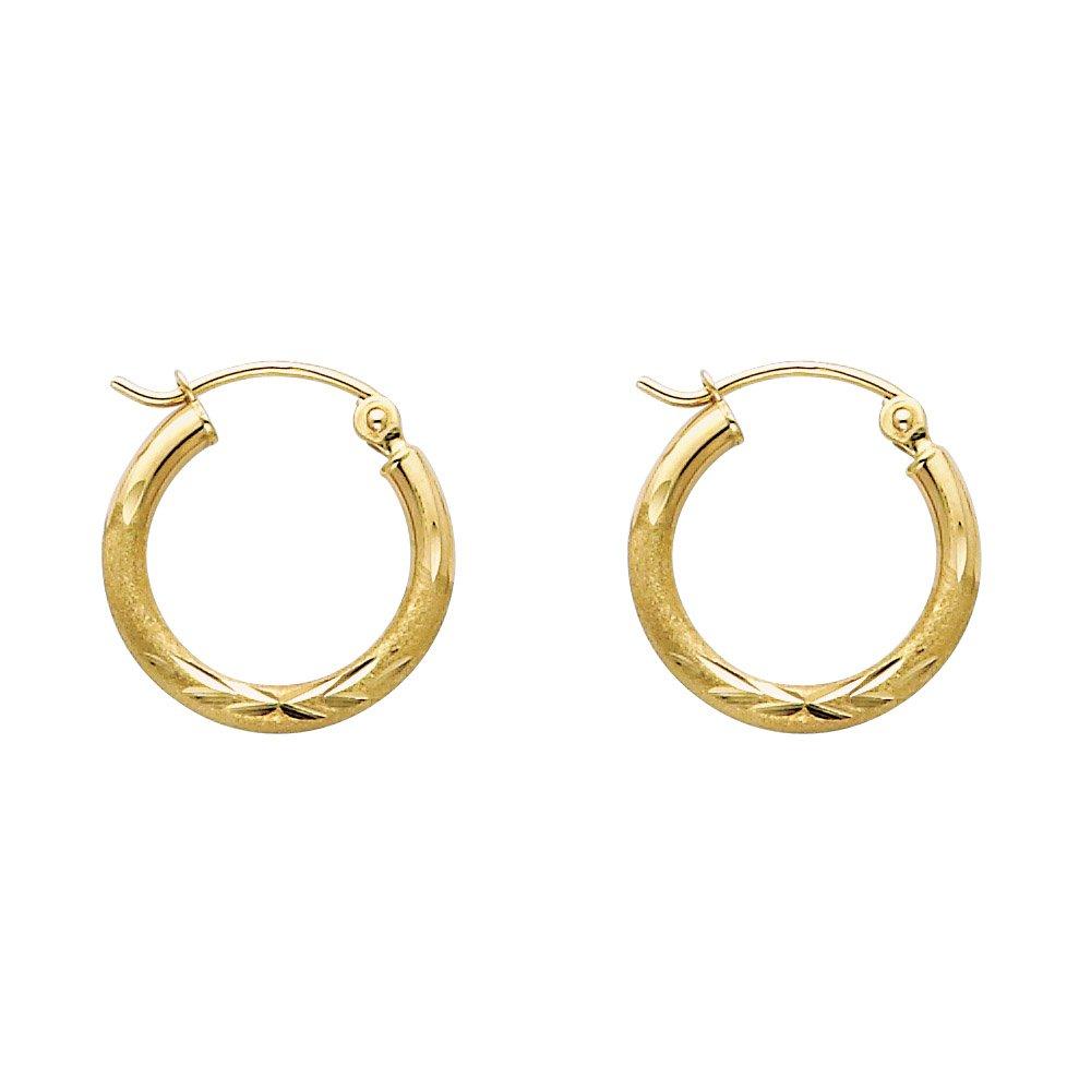 14k Yellow Gold 2mm Thick Diamond-Cut Round Tube Hoop Earrings 15mm